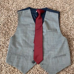 Calvin Klein boys grey vest used once and tie